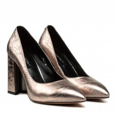 Туфли женские кожаные розовые на удобном каблуке Dovetoly