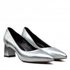 Туфли женские кожаные серебристые на удобном каблуке Dovetoly