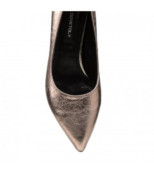 Туфлі жіночі шкіряні рожеві на зручному каблуку Dovetoly