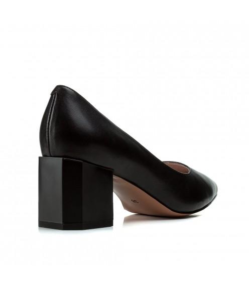 Туфлі жіночі шкіряні чорні на товстому каблуку Vidorcci