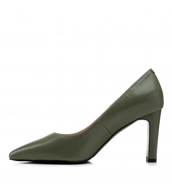 Туфлі жіночі шкіряні зелені на зручному каблуку  Vidorcci