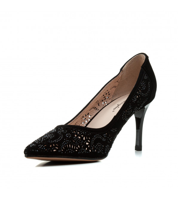 Туфлі жіночі лодочки замшеві чорні на шпильці Barborrylia