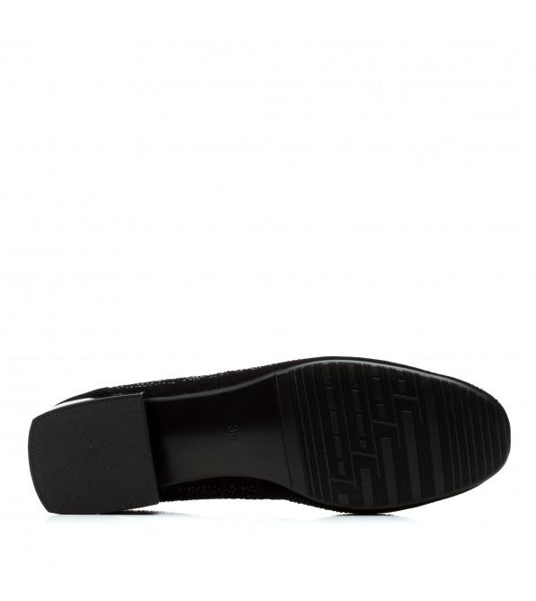 Туфлі жіночі замшеві чорні на низькому каблуці Barborrylia