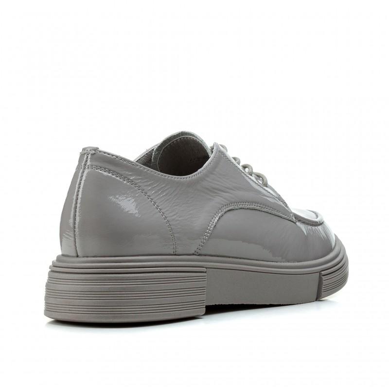 Туфлі жіночі шкіряні лакові сірі на низькому ходу Deenoor