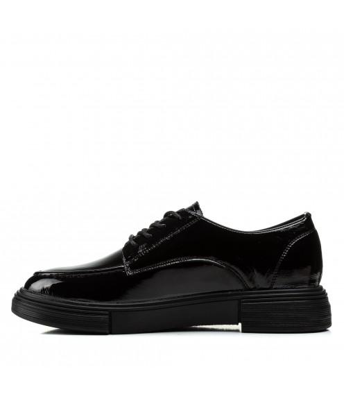 Туфлі жіночі шкіряні лакові чорні на низькому ходу Deenoor