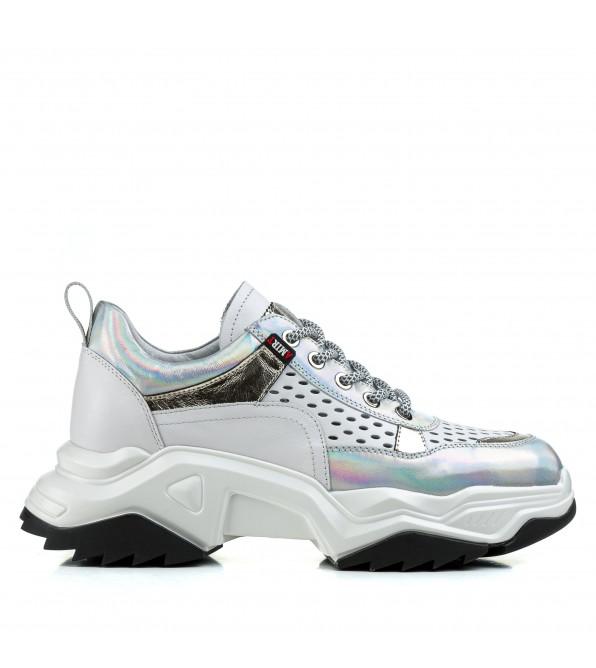 Кросівки жіночі шкіряні білі на платформі Deenoor
