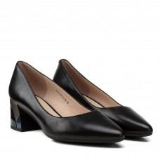 Туфли-лодочки женские кожаные черные на устойчивом  каблуке Geronea
