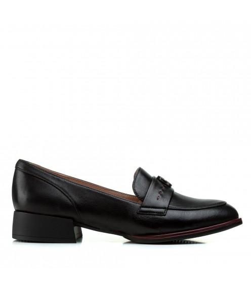 Туфлі жіночі шкіряні чорні на зручному каблуку Geronea