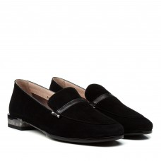 Туфли женские замшевые черные на низком каблуке Geronea