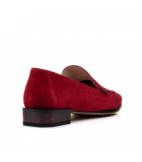 Туфлі жіночі замшеві червоні на низькому каблуку Geronea