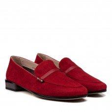 Туфли женские замшевые красные на низком каблуке Geronea