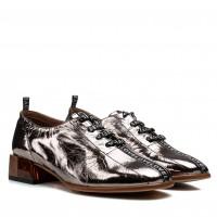 Туфли женские кожаные бронзовые на удобном толстом каблуке