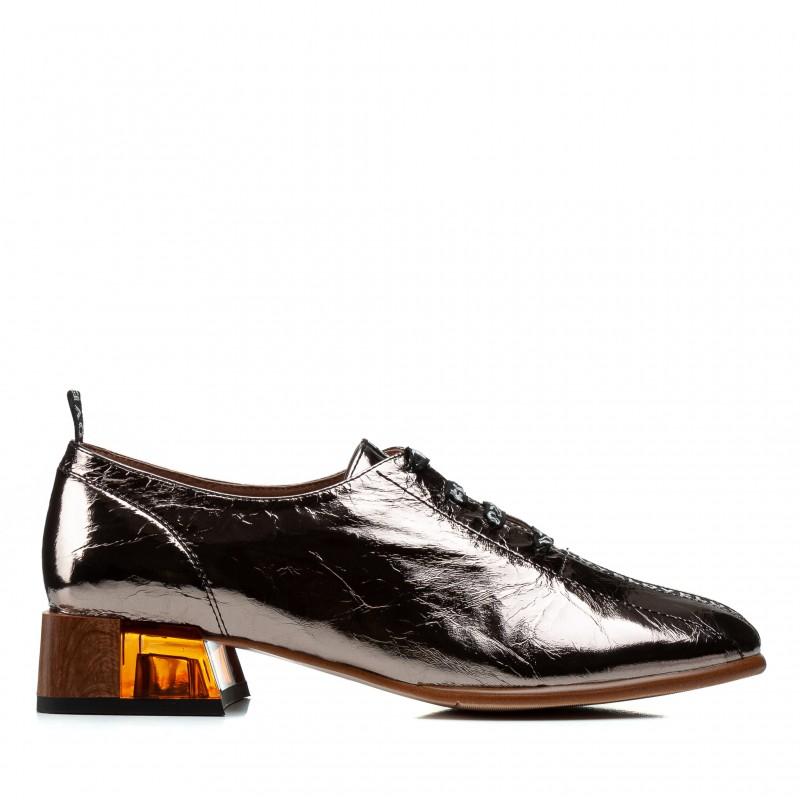 Туфлі жіночі шкіряні бронзові на зручному товстому каблуку