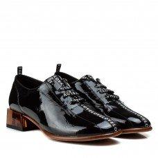 Туфли женские кожаные лаковые черные на толстом каблуке