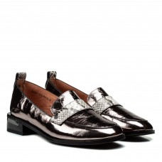 Туфлі жіночі шкіряні бронзові на зручному каблуку