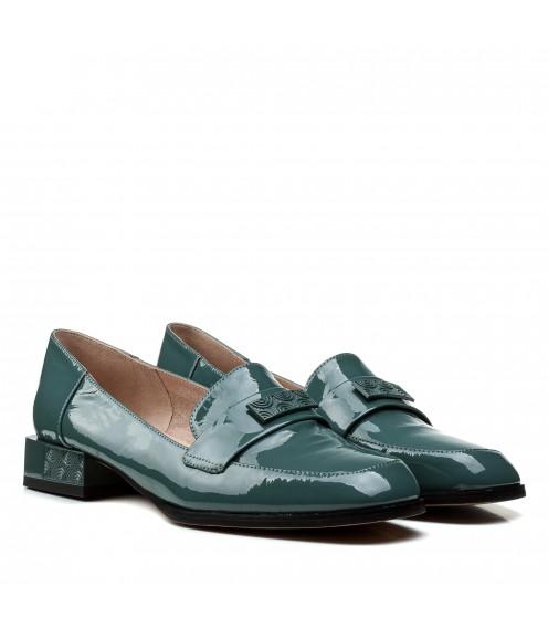 Туфлі жіночі шкіряні лакові бірюзові на низькому каблуці