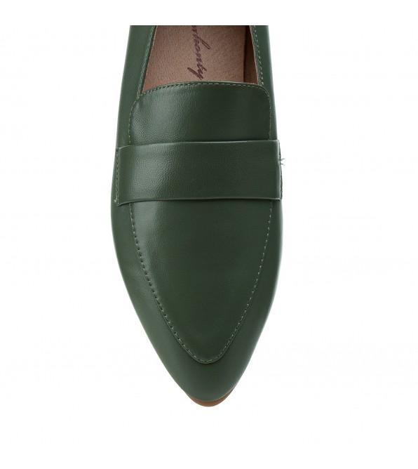 Туфлі жіночі шкіряні зелені  на низькому ходу Berkonty