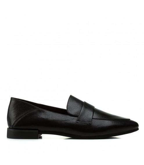 Туфлі жіночі шкіряні чорні на низькому каблуку Berkonty