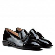 Туфлі жіночі шкіряні лакові  чорні на зручному каблуку