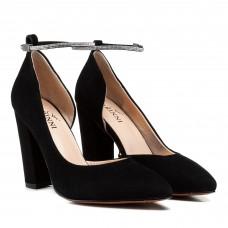 Туфли женские лодочки замшевые черные на высоком каблуке Farinni