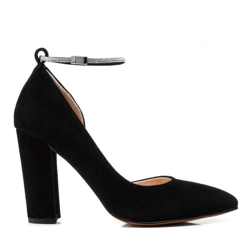 Туфлі жіночі човники замшеві чорні на високому каблуці Farinni
