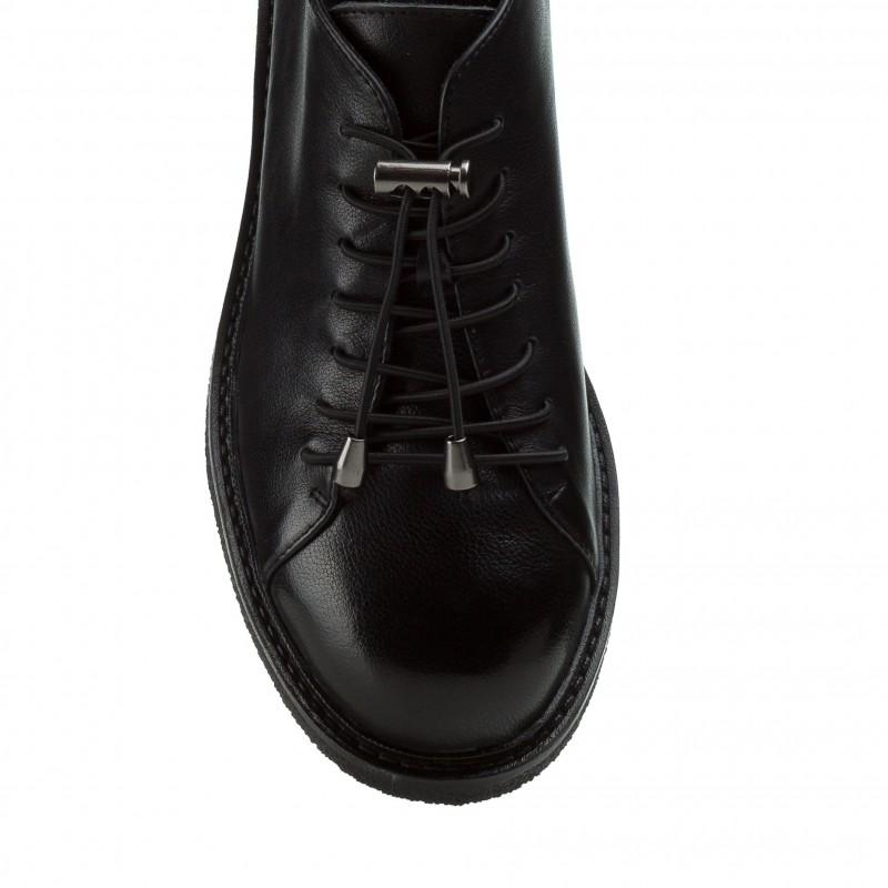 Туфлі жіночі шкіряні чорні на низькому ходу Farinni