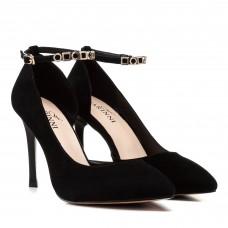 Туфли женские лодочки замшевые черные на шпильке Farinni