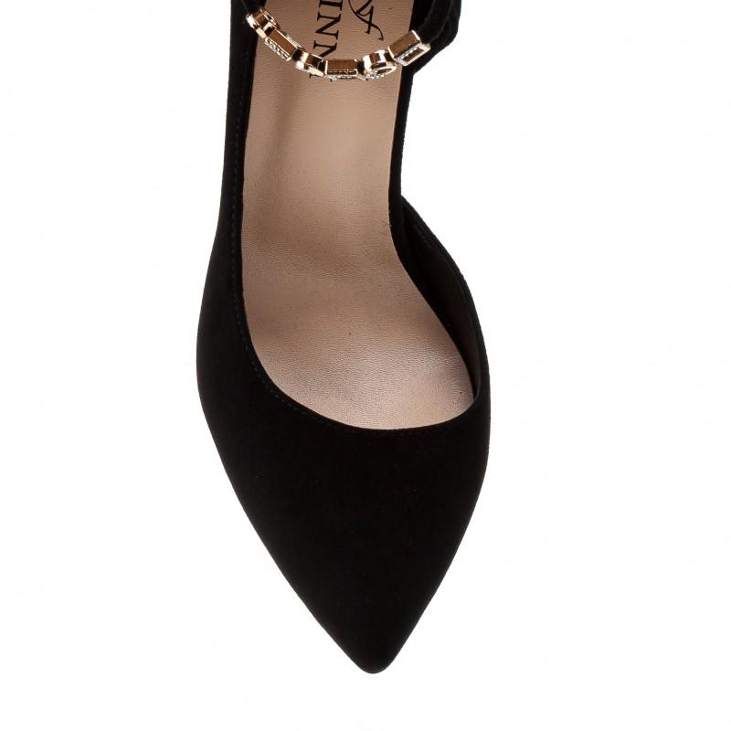 Туфлі жіночі човники замшеві чорні на шпильці Farinni