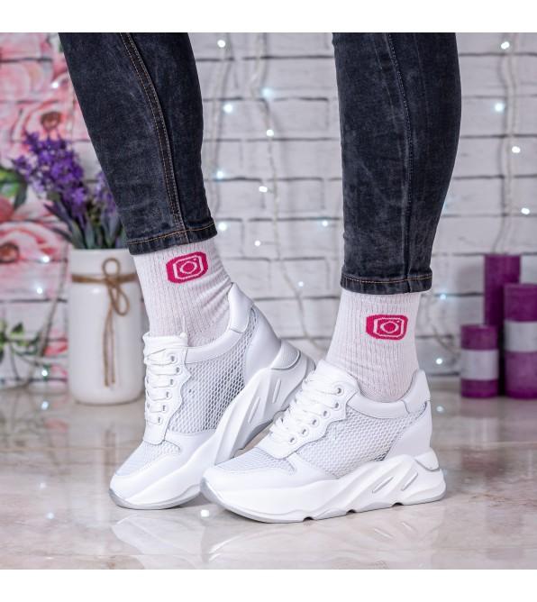Кросівки жіночі білі на високій платформі Farinni
