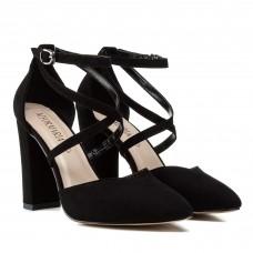 Туфли женские лодочки замшевые черные на толстом каблуке Aiformaria