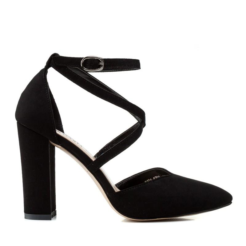 Туфлі жіночі човники замшеві чорні на товстому каблуці Aiformaria