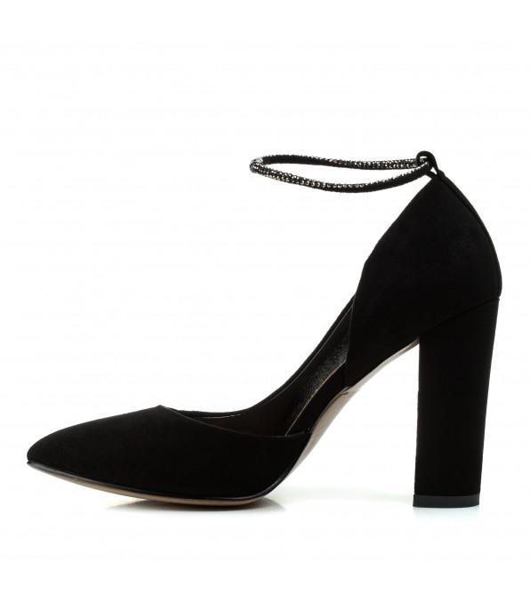 Туфлі жіночі човники замшеві чорні на високому каблуку Aiformaria