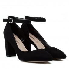 Туфли женские лодочки замшевые черные на каблуке Aiformaria