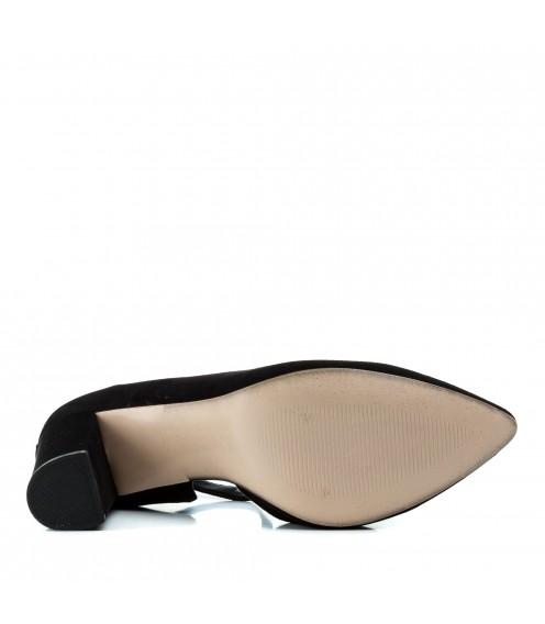 Туфлі жіночі лодочки замшеві чорні на каблуці Aiformaria