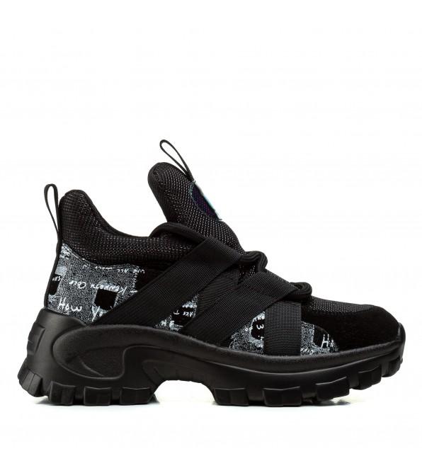 Кросівки жіночі чорні зручні на платформі Gifanni