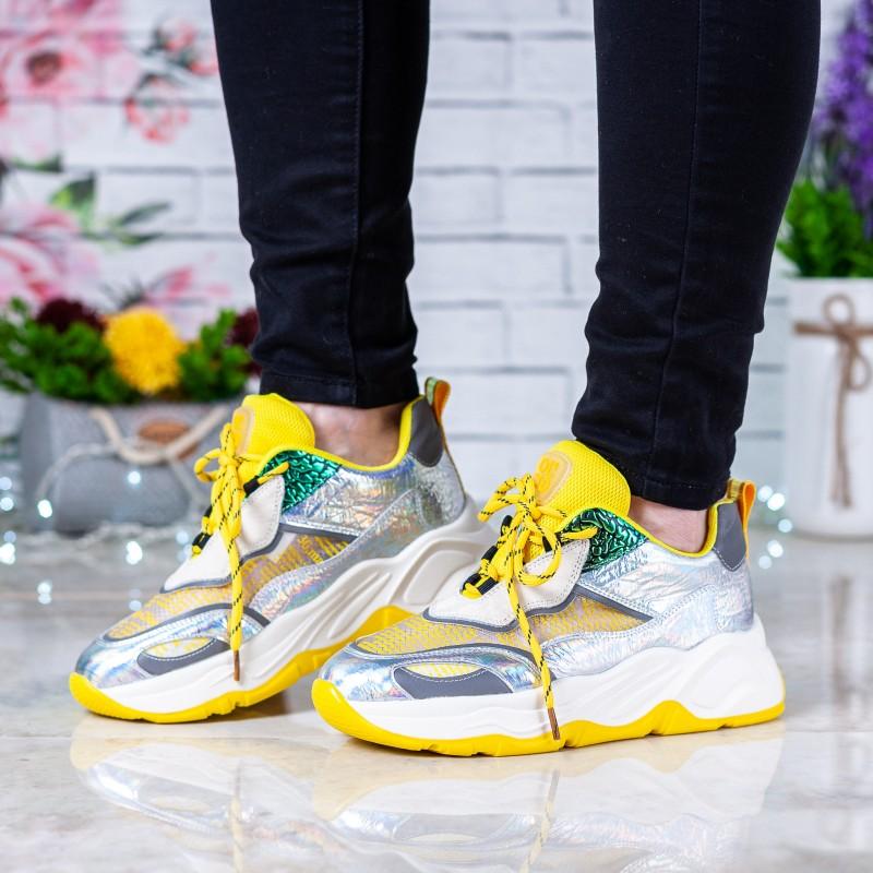 Кросівки жіночі жовті на танкетці комфортні Sp Lion