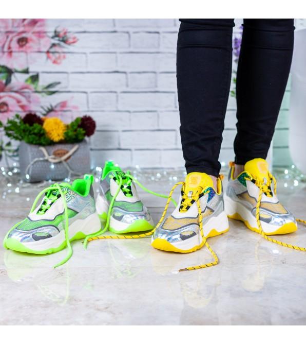 Кросівки жіночі сіро салатові на платформі Sp Lion
