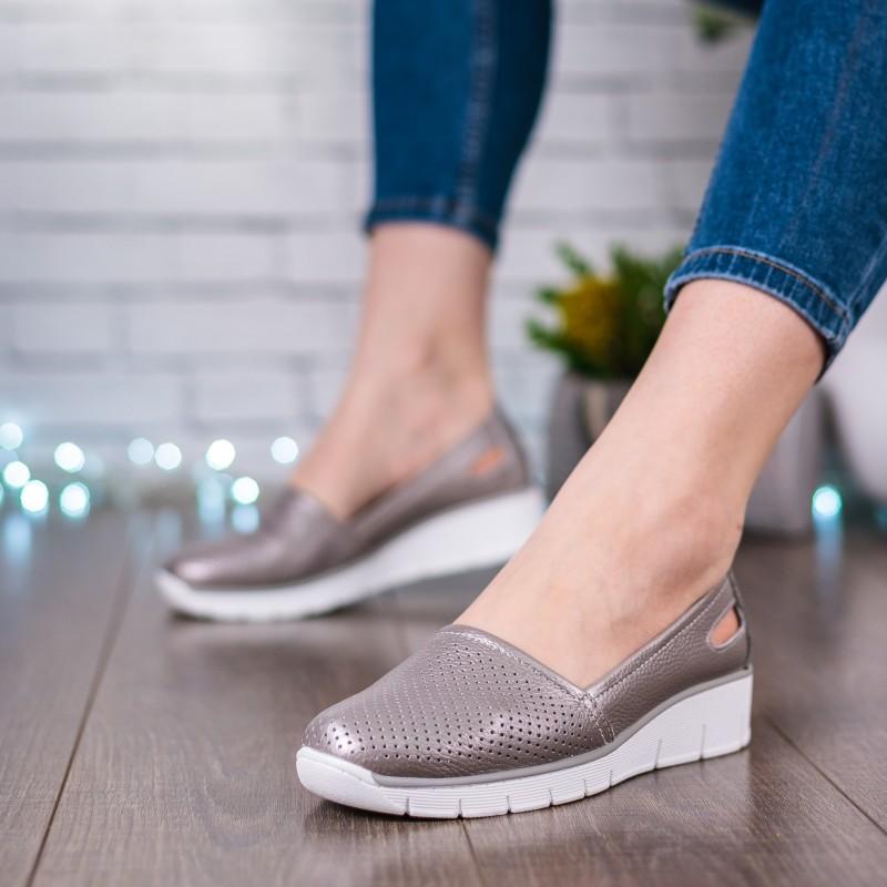 Туфлі жіночі сірі на танкетці Lifexpert