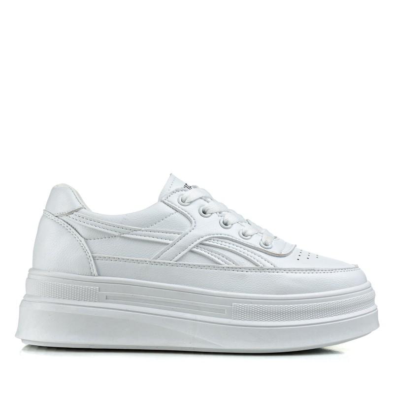 Кросівки жіночі білі на зручній високій  платформі Linda