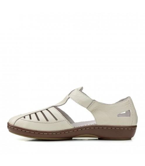 Туфлі жіночі шкіряні молочні на низькому ходу Meegocomfort