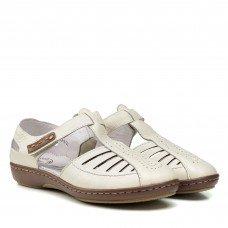 Туфли женские кожаные молочные на низком ходу Meegocomfort