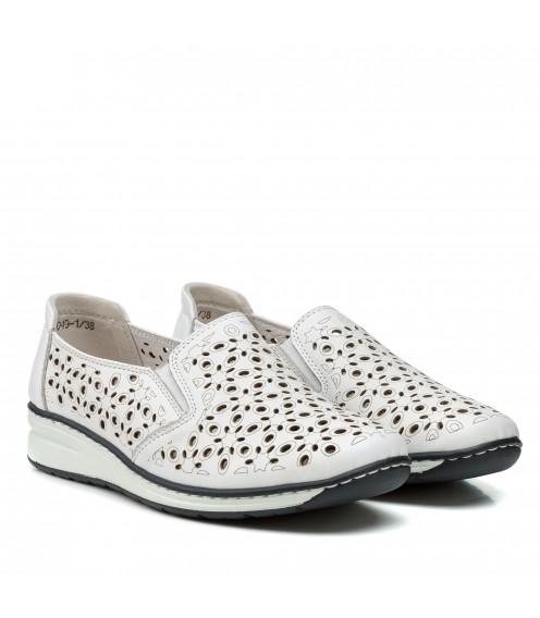 Туфлі жіночі шкіряні  білі на низькому ходу Meegocomfort