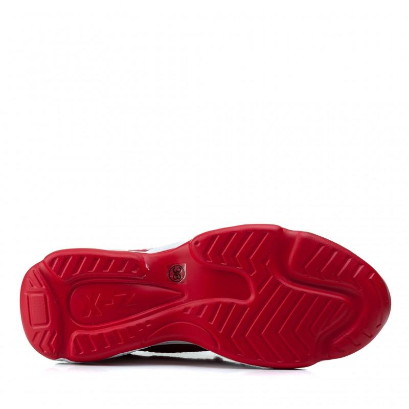 Кросівки жіночі червоні на високій танкетці комфортні Vikonty