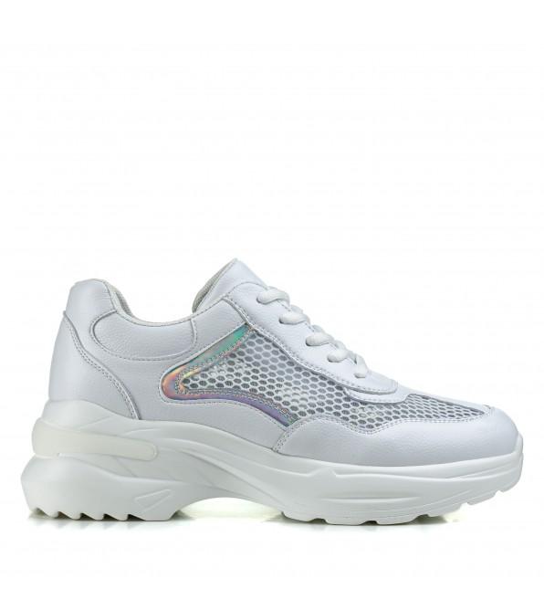 Кросівки жіночі білі літні на високій платформі Vikonty