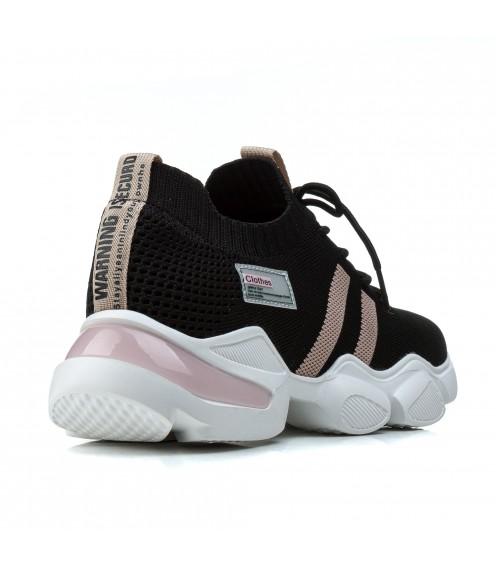 Кросівки жіночі чорні літні на високій платформі Vikonty