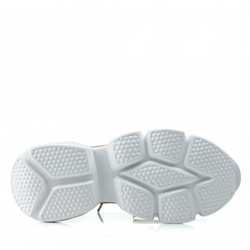 Кросівки жіночі пудрові на високій платформі спортивні Vikonty