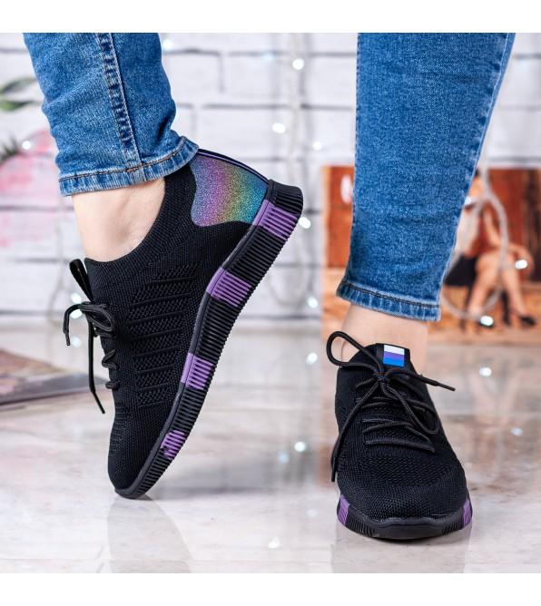 Кросівки жіночі чорні на рівній платформі Vikonty