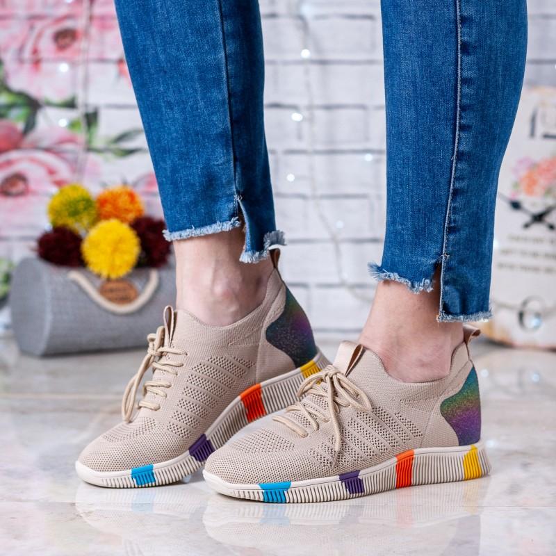 Кросівки жіночі бежеві на платформі літні Vikonty