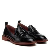 Туфли-лоферы женские кожаные черные Brocoli