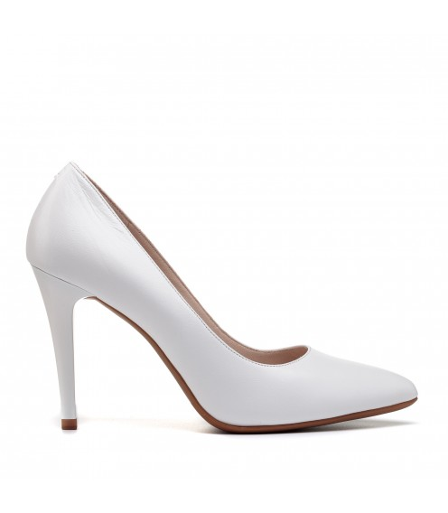Туфлі жіночі шкіряні білі на шпильці Lady marcia